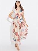 tanie Sukienki-Damskie Wyjściowe Jedwab Linia A Sukienka - Solidne kolory Maxi / Wzory kwiatów