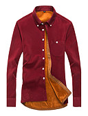 cheap Men's Tees & Tank Tops-Men's Plus Size Cotton Shirt - Solid Colored Classic Collar / Long Sleeve / Fall / Winter