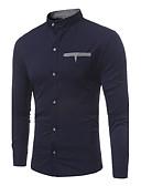 お買い得  メンズシャツ-男性用 シャツ スタンドカラー スリム カラーブロック