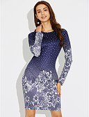 cheap Dresses For Date-Women's Party / Holiday Sheath Dress - Floral Blue, Print / Slim