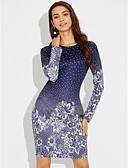 olcso Női ruhák-Női Szabadság Hüvely Ruha - Nyomtatott, Virágos Térd feletti Kék / Tavasz / Ősz / Vékony