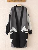 olcso Női pulóverek-Női Alkalmi Pamut Hosszú ujj Hosszú Kardigán Színes V-alakú / Tavasz / Ősz