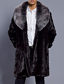 cheap Men's Jackets & Coats-Men's Long Plus Size Faux Fur Fur Coat - Solid Colored Shirt Collar