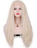 billige Korsetter og bysteholdere-Syntetisk blonder foran parykker Løse bølger Blond Syntetisk hår Midtparti Sy i / 100% kanekalon hår Blond Parykk Dame Lang Blonde Forside Sølv