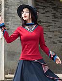 preiswerte Damen Röcke-Damen Solide / Blumen - Chinoiserie Ausgehen Baumwolle T-shirt, Ständer / Frühling / Herbst