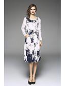 preiswerte Damen Kleider-Damen Übergrössen Ausgehen Lose Kleid Solide / Blumen Midi / Asymmetrisch Hohe Hüfthöhe