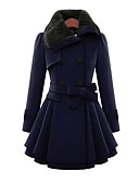 cheap Women's Coats & Trench Coats-Women's Simple / Casual Cotton Coat - Solid Colored Peter Pan Collar