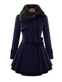 olcso Női kalapok-Napi Egyszerű Alkalmi Bubigallér Női Hosszú Kabát Egyszínű Tél Ősz Pamut