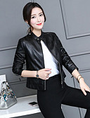 cheap Women's Leather Jackets-Women's Work Leather Jacket - Solid Colored / Fall / Winter
