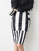 cheap Women's Dresses-Women's Going out Holiday Street chic Bodycon Skirts - Striped Split