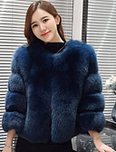 cheap Women's Fur Coats-Women's Fox Fur Fur Coat - Solid Colored