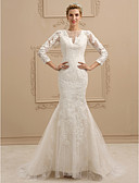cheap Wedding Dresses-Mermaid / Trumpet Plunging Neck Sweep / Brush Train Lace / Tulle Made-To-Measure Wedding Dresses with Appliques / Buttons by LAN TING BRIDE® / Illusion Sleeve / See-Through