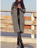 cheap Women's Coats & Trench Coats-Women's Work Long Sleeves Long Cardigan - Solid Crew Neck