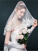cheap Wedding Veils-One-tier Lace Applique Edge Wedding Veil Blusher Veils Elbow Veils 53 Appliques Sparkling Glitter Tulle