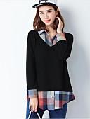 baratos Camisas Femininas-Mulheres Camisa Social Sólido Estampa Colorida Algodão Colarinho de Camisa