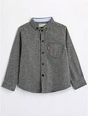 cheap Boys' Clothing-Boys' Solid Shirt, Cotton Fall Long Sleeves Gray
