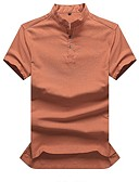 cheap Men's Tees & Tank Tops-Men's Cotton Shirt - Solid Colored Stand