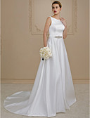cheap Wedding Dresses-A-Line / Princess Scoop Neck Court Train Satin Made-To-Measure Wedding Dresses with Beading / Buttons / Sashes / Ribbons by LAN TING