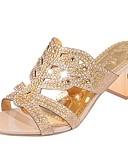 cheap Vintage Dresses-Women's Sandals Block Heel Open Toe Sparkling Glitter PU(Polyurethane) Spring / Summer Beige / Green / Royal Blue / EU40