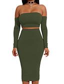 baratos Conjuntos Femininos-Mulheres Bandagem Curto Camiseta - Frente Única, Sólido / Simples Cintura Alta Saia Sem Alças / Primavera / Outono
