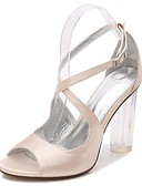 cheap Mother of the Bride Dresses-Women's Shoes Satin Spring / Summer Basic Pump / Ankle Strap / Transparent Shoes Sandals Chunky Heel / Translucent Heel / Crystal Heel