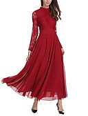 cheap Evening Dresses-Women's Daily Casual Sexy Loose Swing Dress,Solid Stand Maxi Long Sleeves Polyester Winter Spring Mid Rise Inelastic Medium