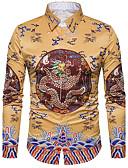 זול חולצות לגברים-דפוס צווארון חולצה סגנון רחוב יום יומי\קז'ואל חולצה גברים שרוול ארוך פוליאסטר
