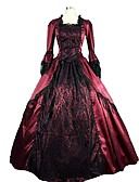 cheap Historical & Vintage Costumes-Rococo Victorian Costume Women's Dress Party Costume Masquerade Red Vintage Cosplay Satin Sleeveless Knee Length Floor Length Ball Gown Plus Size Customized