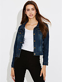 cheap Women's Denim Jackets-Women's Beach Work Street chic Denim Jacket - Solid Colored Square Neck