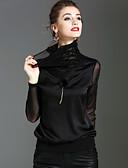 baratos Tops Femininos-Mulheres Camiseta - Feriado / Para Noite Moda de Rua / Sofisticado Sólido Gola Alta