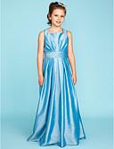 Χαμηλού Κόστους Λουλουδάτα φορέματα για κορίτσια-Γραμμή Α / Πριγκίπισσα Τετράγωνη Λαιμόκοψη Μακρύ Ταφτάς Φόρεμα Νεαρών Παρανύμφων με Ζώνη / Κορδέλα / Πιασίματα / Πλισέ με LAN TING BRIDE® / Γαμήλιο Πάρτι / Φυσικό