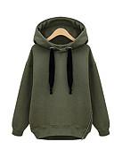 preiswerte Damen Kapuzenpullover & Sweatshirts-Damen Kapuzenshirt Solide Baumwolle / Herbst