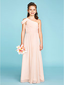 cheap Prom Dresses-A-Line / Princess One Shoulder Floor Length Chiffon Junior Bridesmaid Dress with Sash / Ribbon / Side Draping by LAN TING BRIDE® / Wedding Party / Open Back