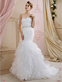 cheap Wedding Dresses-Mermaid / Trumpet Sweetheart Neckline Sweep / Brush Train Organza Made-To-Measure Wedding Dresses with Sashes / Ribbons / Cascading Ruffles by LAN TING BRIDE® / Open Back