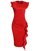 cheap Women's Dresses-Women's Work Bodycon Sheath Dress - Solid Colored Red, Ruffle Ruched