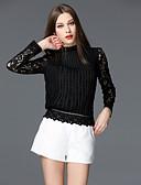 baratos Blazeres & Jaquetas Femininas-Mulheres Camiseta Sólido Colarinho Chinês