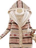 cheap Women's Blazers & Jackets-Women's Daily Geometric Long Sleeve Long Cardigan, Hooded Winter Cotton Red / Beige / Gray One-Size