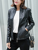 cheap Women's Leather & Faux Leather Jackets-Women's Vintage Chinoiserie Leather Jacket-Solid Colored Stand