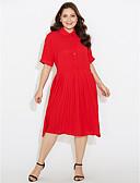 olcso Női nadrágok és szoknyák-Női Extra méret A-vonalú Ruha Egyszínű Midi