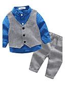olcso Bébi Fiúknak ruházat-Baba Fiú Fekete-fehér kockás Casual / hétköznapi Rács Ruházat szett