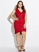 رخيصةأون فساتين نسائية-فستان نسائي قياس كبير ثوب ضيق منفصل غير متماثل لون سادة V رقبة / نحيل