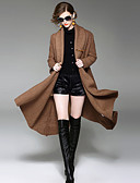 cheap Women's Coats & Trench Coats-Women's Street chic Long Coat - Solid Colored, Pure Color