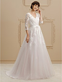 cheap Wedding Dresses-A-Line / Princess V Neck Court Train Lace / Tulle Made-To-Measure Wedding Dresses with Beading / Appliques / Sashes / Ribbons by LAN TING
