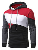 cheap Men's Hoodies & Sweatshirts-Men's Plus Size Street chic Long Sleeves Hoodie - Striped Color Block, Patchwork Hooded