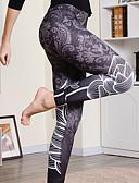 baratos Leggings para Mulheres-legging esportivo feminino - impressão, cintura meio colorida sólida