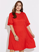 cheap Women's Dresses-Women's Plus Size Street chic Shift Dress - Solid Colored Red / Spring / Fall