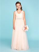 billige Junior brudepikekjoler-A-linje Prinsesse V-hals Gulvlang Tyll Junior brudepikekjole med Krystalldetaljer Kryssdrapering av LAN TING BRIDE®