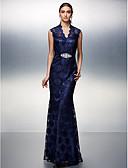 preiswerte Abendkleider-Eng anliegend Illusionsausschnitt Boden-Länge Spitze Abiball / Formeller Abend Kleid mit Perlenstickerei / Schleife(n) durch TS Couture®
