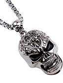 cheap Men's Tees & Tank Tops-Men's Long Pendant Necklace / Chain Necklace - Skull Hip-Hop Cool Silver Necklace Jewelry One-piece Suit For Christmas, Bar