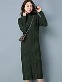 tanie Sukienki-Damskie Bawełna Pochwa Sukienka - Solidne kolory Golf Midi